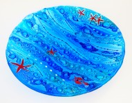 Fused Glass Coastal Charger - 40cm